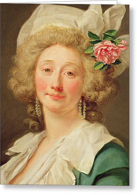 Roses In Her Hair Greeting Cards - Portrait of a lady Greeting Card by Jean Francois Colson