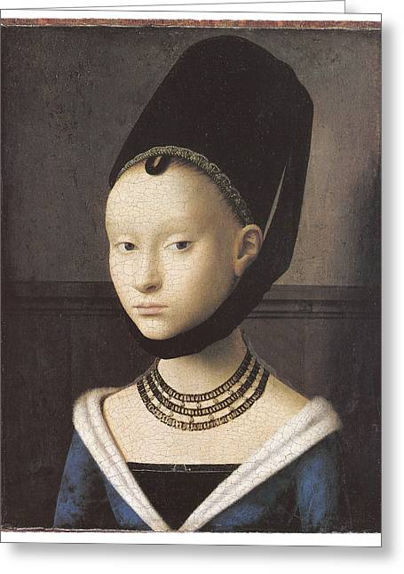 Portrait Of A Lady Greeting Card by Petrus Christus