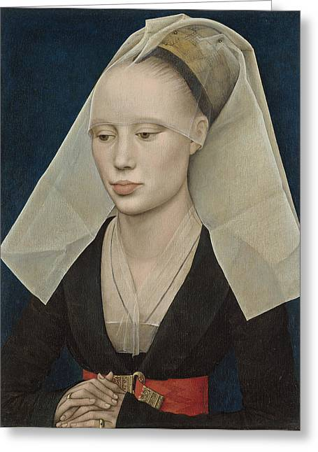 Veiled Greeting Cards - Portrait of a Lady Greeting Card by Rogier van der Weyden