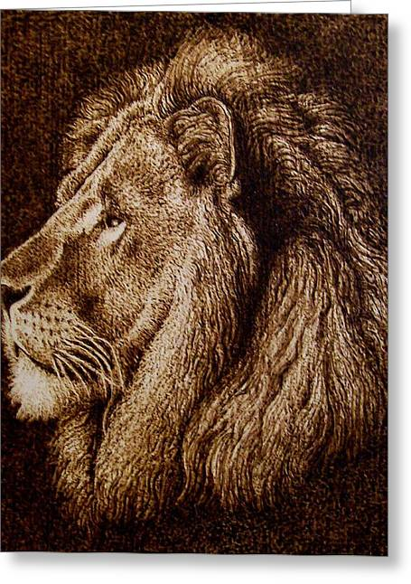 Lions Pyrography Greeting Cards - Portrait of a Lion Greeting Card by Cara Jordan