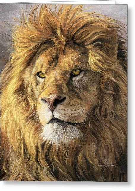 Lions Greeting Cards - Portrait Of A Lion Greeting Card by Lucie Bilodeau