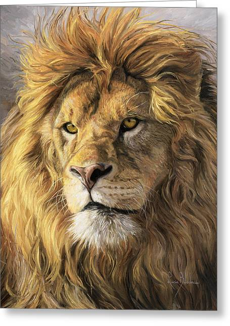 Lion Greeting Cards - Portrait Of A Lion Greeting Card by Lucie Bilodeau