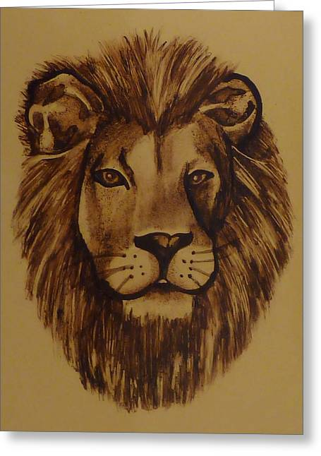 Lions Glass Art Greeting Cards - Portrait of a Lion Greeting Card by Samantha  Calder