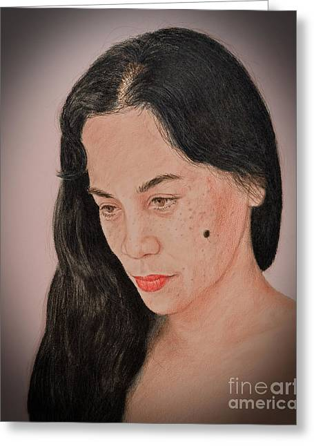 Beauty Mark Mixed Media Greeting Cards - Portrait of a Long Haired Filipina Beautfy with a Mole on Her Cheek Fade to Black Version Greeting Card by Jim Fitzpatrick