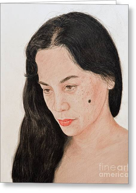 Recently Sold -  - Beauty Mark Mixed Media Greeting Cards - Portrait of a Long Haired Filipina Beautfy with a Mole on Her Cheek Greeting Card by Jim Fitzpatrick