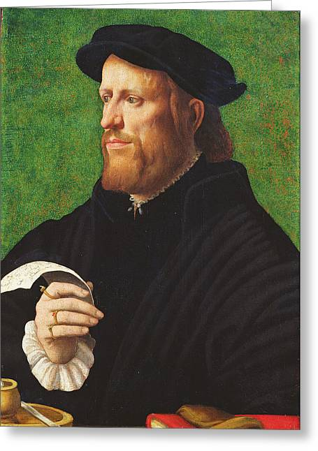 Pensive Greeting Cards - Portrait Of A Man, 1575 Oil On Wood Greeting Card by Dutch School