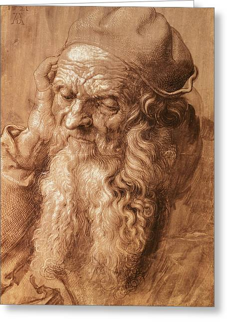 Beard Greeting Cards - Portrait Of A Man, Aged Ninety-three, 1521 Pen And Ink Greeting Card by Albrecht Dürer or Duerer
