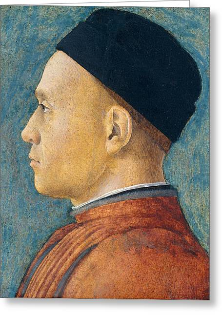 Renaissance Clothing Greeting Cards - Portrait of a Man Greeting Card by Andrea Mantegna