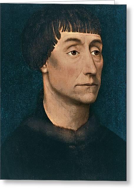 Rogier Van Der Weyden Greeting Cards - Portrait of a Man Greeting Card by Attributed to Rogier van der Weyden