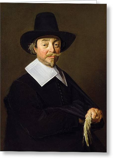 Moustache Greeting Cards - Portrait Of A Man, C.1643-45 Greeting Card by Frans Hals