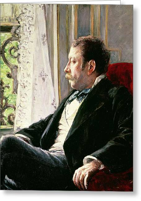 Lace Curtains Greeting Cards - Portrait of a Man Greeting Card by Gustave Caillebotte