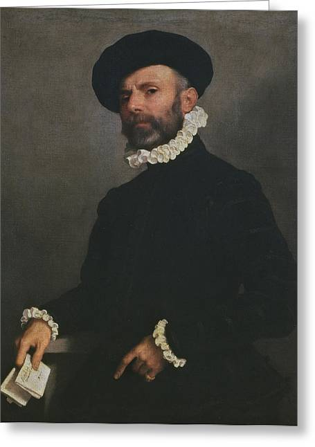 Ruff Greeting Cards - Portrait Of A Man Holding A Letter, C.1570-75 Oil On Canvas Greeting Card by Giovanni Battista Moroni