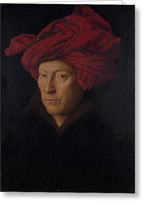 Self-portrait Greeting Cards - Portrait of a Man in a Turban Greeting Card by Jan van Eyck