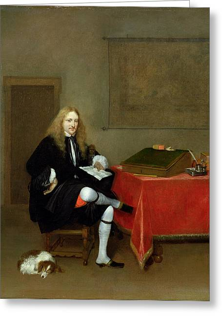 Spaniel Greeting Cards - Portrait Of A Man In His Study, C.1668-69 Oil On Canvas Greeting Card by Gerard ter Borch or Terborch