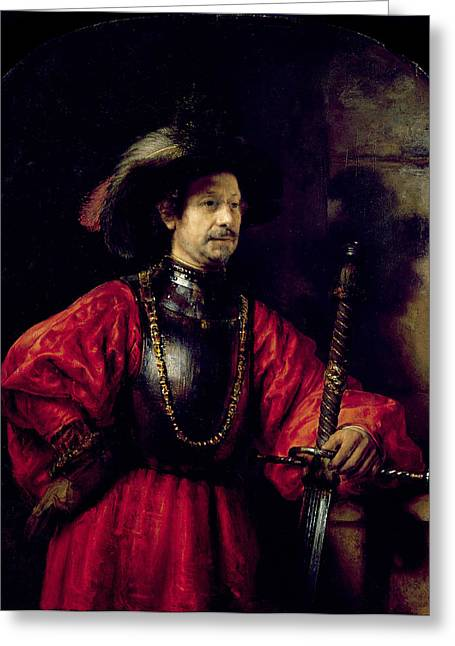 Sword Greeting Cards - Portrait Of A Man In Military Costume Greeting Card by Rembrandt Harmensz. van Rijn