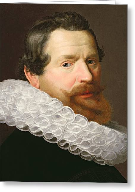 Ruff Greeting Cards - Portrait of a Man Wearing a Ruff Greeting Card by Dutch School