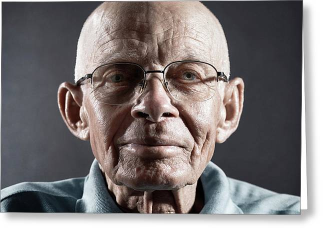 Portrait Of A Man Wearing Glasses Greeting Card by Ktsdesign