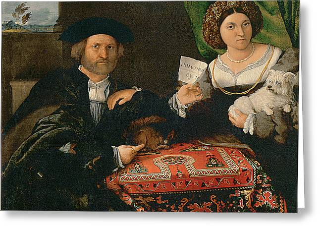 Married Couple Greeting Cards - Portrait of a Married Couple Greeting Card by Lorenzo Lotto