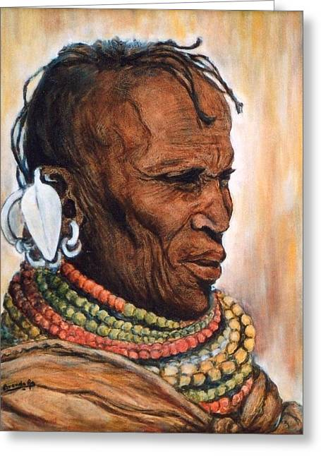Outfit Drawings Greeting Cards - Portrait of a Masai Woman Greeting Card by Brenda Almeida-Schwaar