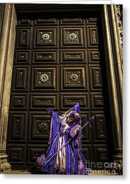 Venetian Doors Greeting Cards - Portrait of a mask IV Greeting Card by Yuri Santin