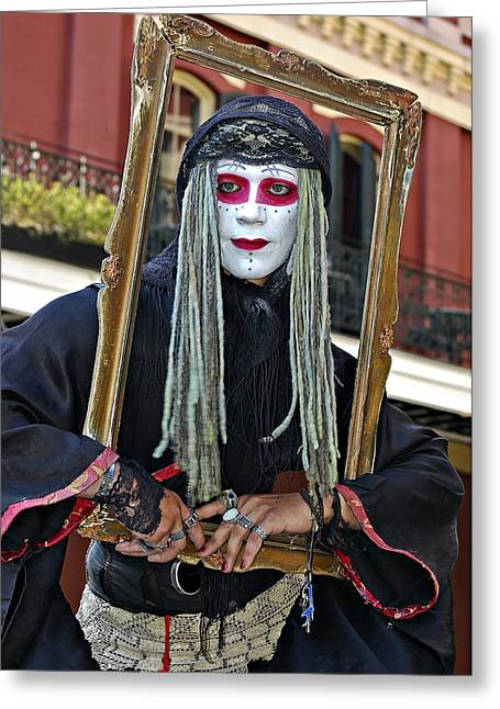 New Orleans Louisiana Framed Prints Greeting Cards - Portrait of a Mime Greeting Card by Steve Harrington