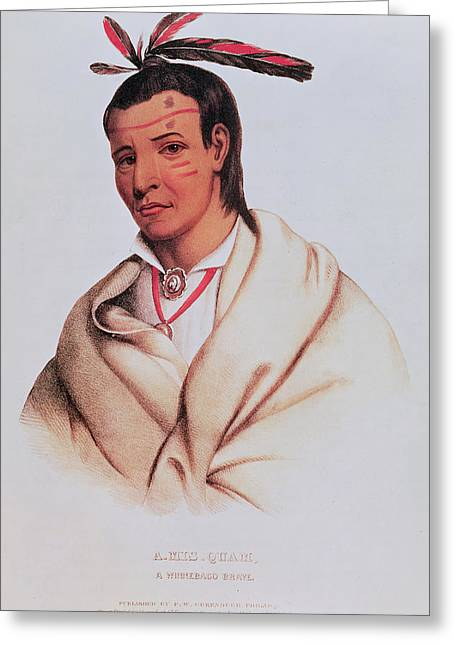 Native Americans Photographs Greeting Cards - Portrait Of A-mis-quam, A Winnebago Brave Coloured Engraving Greeting Card by American School