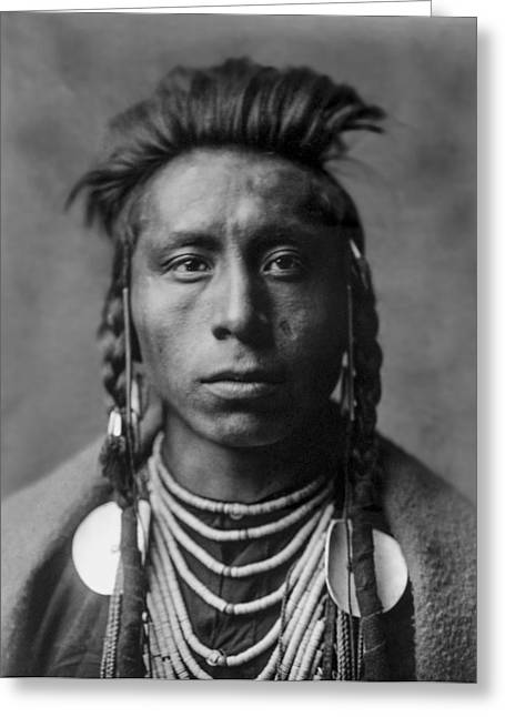 White Necklace Greeting Cards - Portrait of a native American Man Greeting Card by Aged Pixel