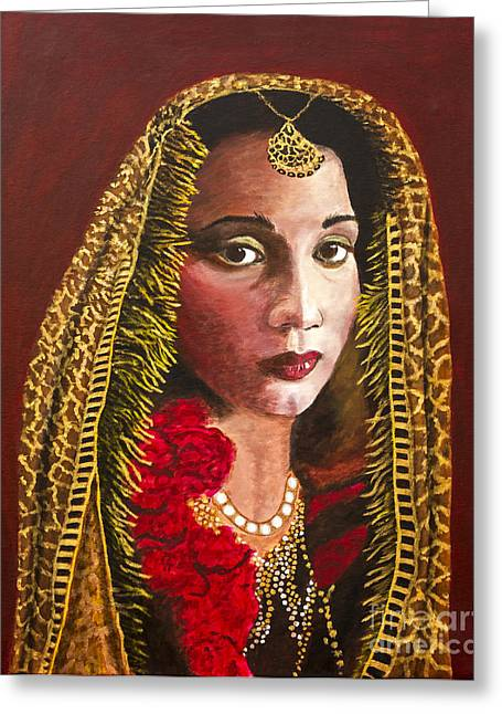 Persian Women Greeting Cards - Portrait of a Persian Royal Woman by Barbara Heinrichs Greeting Card by Sheldon Kralstein