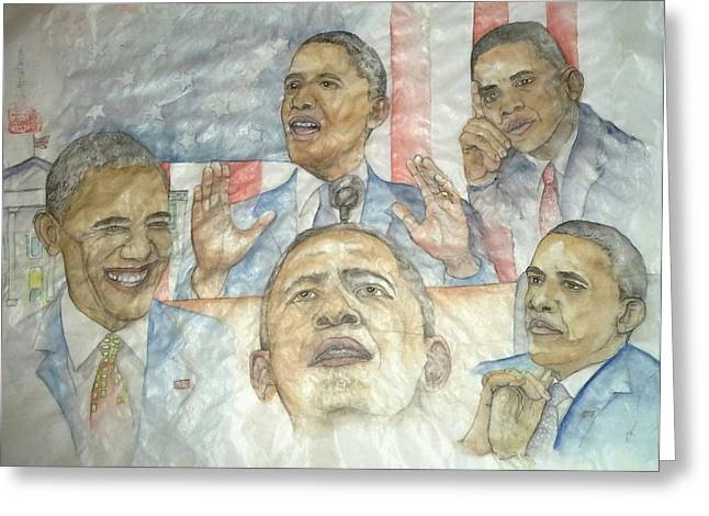 President Obama Greeting Cards - portrait of a President  Greeting Card by Debbi Chan