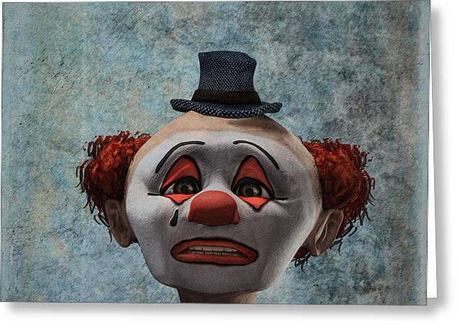 Singular Greeting Cards - Portrait of a sad clown Greeting Card by Ramon Martinez
