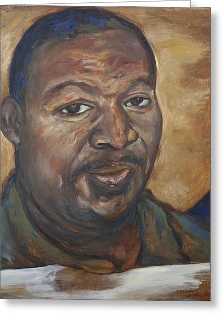 African American Art Ceramics Greeting Cards - Portrait of a Saint II Greeting Card by Sharon Norwood