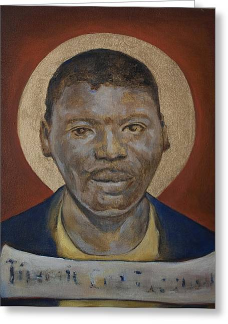 African-americans Ceramics Greeting Cards - Portrait of a Saint IV Greeting Card by Sharon Norwood