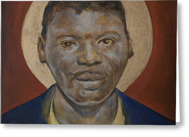 Portrait of a Saint IV Greeting Card by Sharon Norwood