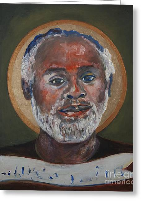 African American Art Ceramics Greeting Cards - Portrait of a Saint V Greeting Card by Sharon Norwood