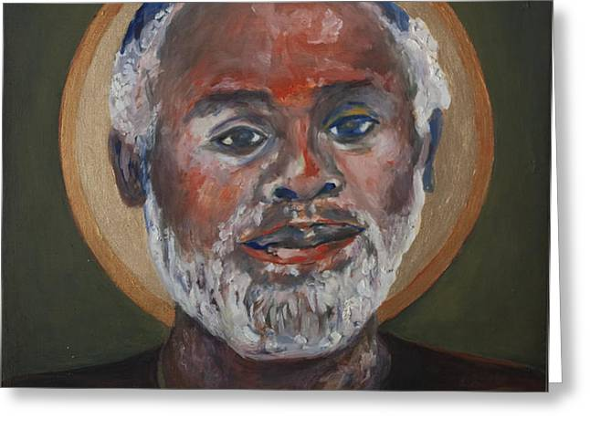 Portrait of a Saint V Greeting Card by Sharon Norwood