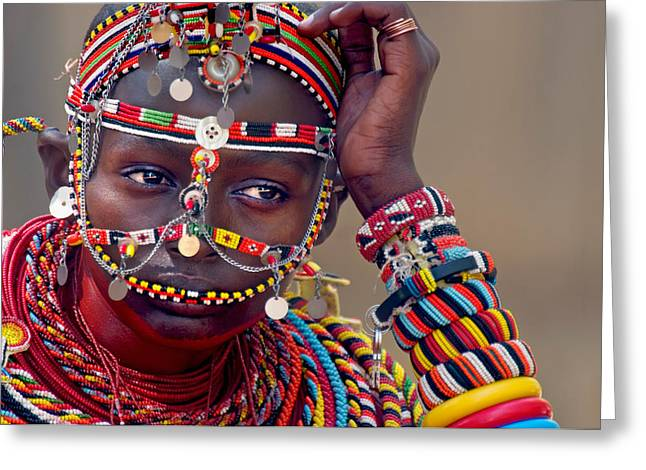 Woman In Color. Women In Color Greeting Cards - Portrait Of A Samburu Maiden Greeting Card by Panoramic Images