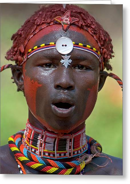 Sweating Photographs Greeting Cards - Portrait Of A Samburu Tribal Greeting Card by Panoramic Images