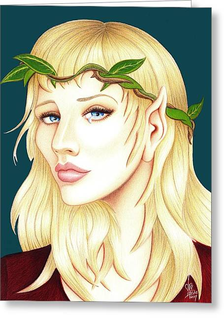 Weeping Drawings Greeting Cards - Portrait of a She Elf Greeting Card by Danielle R T Haney