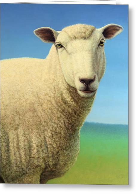 Domestic Greeting Cards - Portrait of a Sheep Greeting Card by James W Johnson
