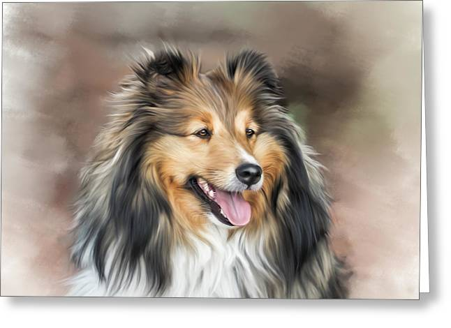 Puppies Mixed Media Greeting Cards - Portrait of a Sheltie Greeting Card by Linda Muir