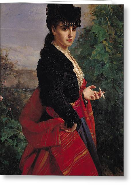Portrait Of A Spanish Woman Greeting Card by Heinrich Wilhelm Schlesinger