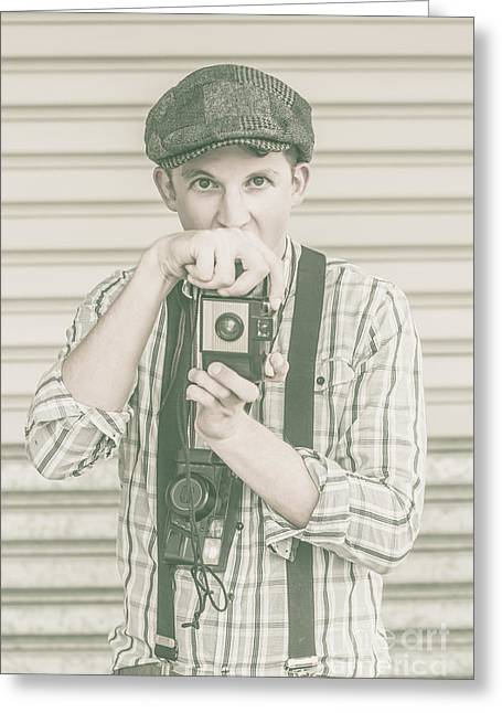 Suspenders Greeting Cards - Portrait of a surprised photographer Greeting Card by Ryan Jorgensen