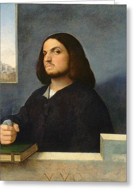 1510 Paintings Greeting Cards - Portrait of a Venetian Gentleman Greeting Card by Giorgione