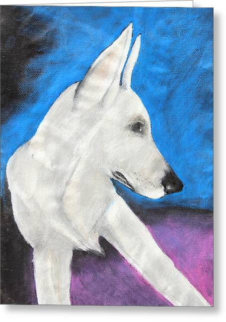 Shepherds Greeting Cards - Portrait Of A White Shepherd Greeting Card by Jeanne Fischer