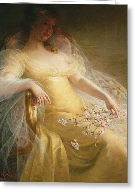 Attractive Female Greeting Cards - Portrait of a Woman Greeting Card by Arpad Migl