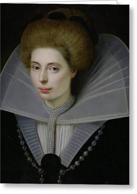 Collar Greeting Cards - Portrait of a Woman  Greeting Card by Dutch School