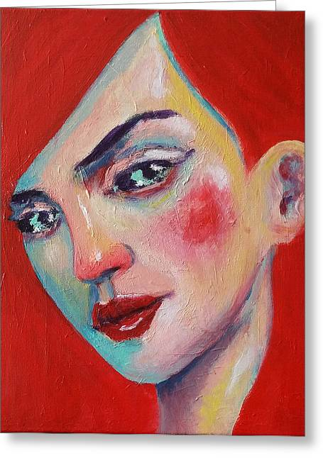 Lady Greeting Cards - Portrait of a Woman Greeting Card by Erki Schotter