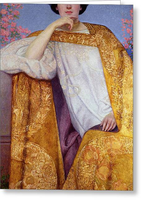 Pensive Greeting Cards - Portrait Of A Woman In A Golden Dress Greeting Card by Gustav Klimt