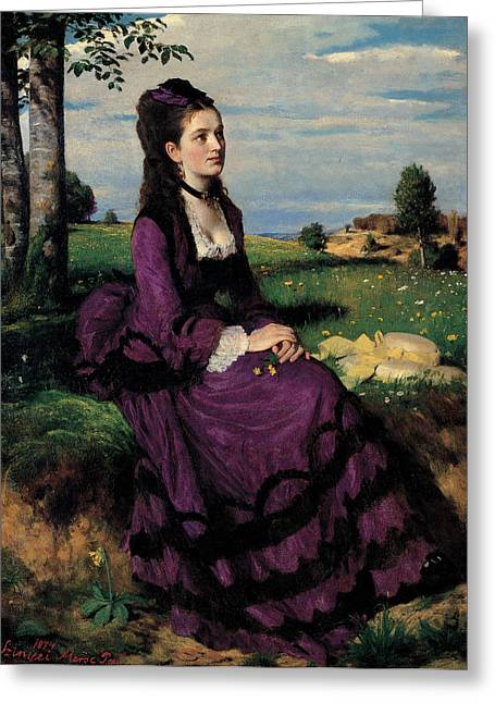 Black Scarf Greeting Cards - Portrait of a Woman in Lilac Greeting Card by Pal Szinyei Merse