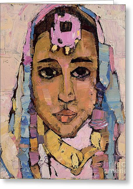 Black Scarf Greeting Cards - Portrait of a Woman in White Greeting Card by Anna Kostenko